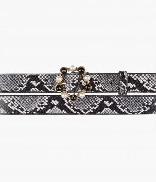 White and Black Embossed Double Wrap Belt by Erdem