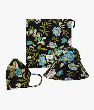 Erdem SS21 Hat, Mask and Pouch Set Romney Floral Poplin Black