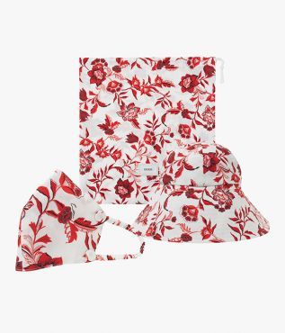Hat, mask and pouch set in Romney Floral in white and red