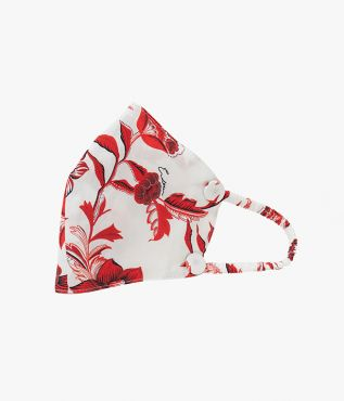 Reusable Face Mask in red and white cotton poplin from Erdem.