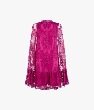 The intricate Constantine Dress from ERDEM, in bright purple cotton lace with a tulle ground and cape design.
