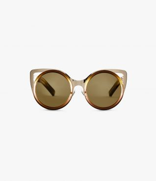 60s-inspired cat eye brown acetate and gold metal sunglasses by Linda Farrow for ERDEM.