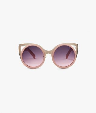60's cat eye sunglasses with pink acetate and gold metal winged sides from Linda Farrow for ERDEM.