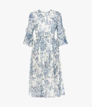 Adriana Dress Toile de Jouy Silk Voile