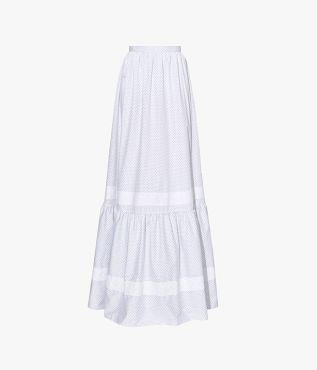 The Annis Skirt is cut with a high-rise waist and tiered hem.