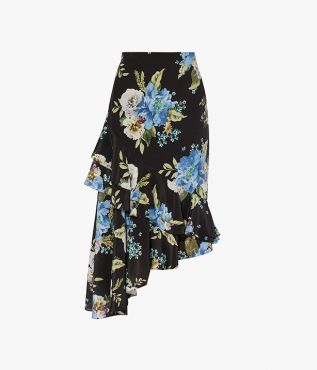 Erdem Antoinette Skirt Carnation Bouquet Silk Crepe de Chine