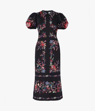 This black twill Antonetta Dress is decorated with the Hogarth Vine print from the pre fall collection.