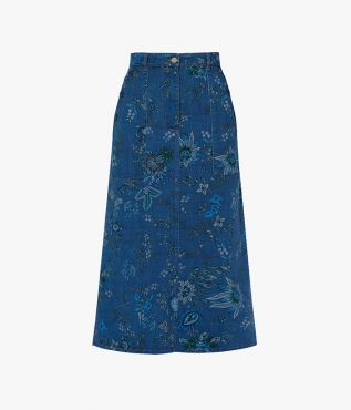 Cut from blue denim, the Artie Skirt is stamped with painterly florals to elegant effect.