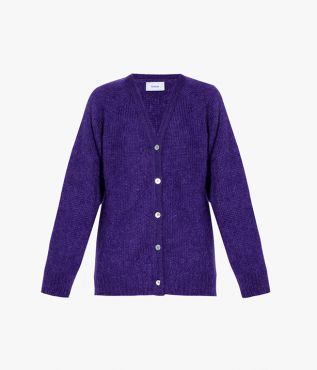 Marcilly Cardigan Mohair Knit Purple