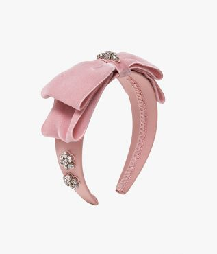 Erdem headband in a ballet-inspired shade of pale pink with sparkling crystal flower motifs.