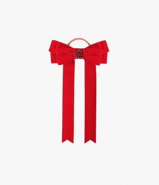 Lend your evening looks a pop of colour with this red velvet hair tie from Erdem.