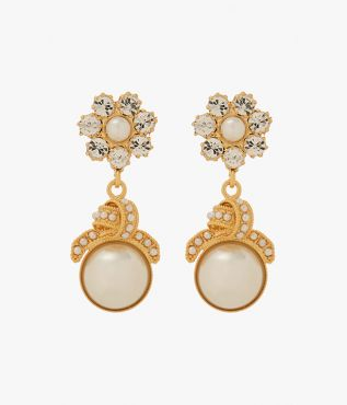 These unique earrings feature light-catching crystals and faux pearls in intricate floral and knot motifs