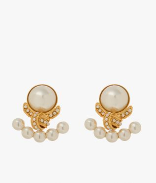 Crafted in Italy, these earrings are cast in gold-tone brass and feature an intricate knot motif.