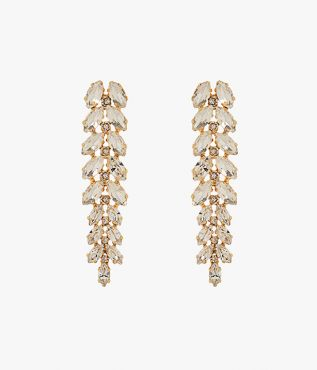 These ornate drop earrings from Erdem are made up of navette crystals in silver.