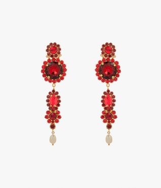 Statement earrings made in Italy from gold-tone brass with red crystals of varying sizes.