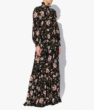 Clementine Gown from Erdem in the AW21 Margot Posy print, an all-over floral in black, pink and green.