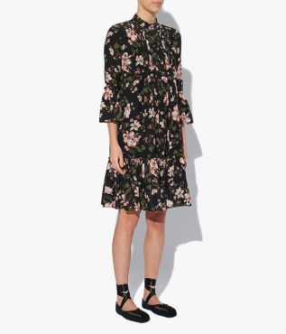 Winford Dress from Erdem, shaped for a relaxed fit through the body, it has a stand collar, ruffled sleeves, and a tiered hem.