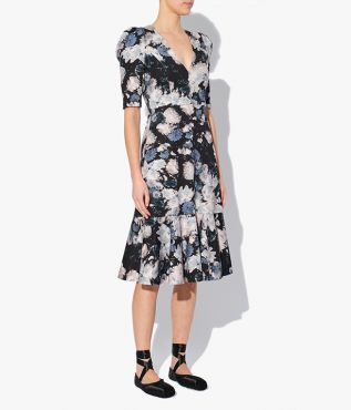 Erdem Ottavia Dress with a V-neckline and puffed shoulders with an elbow length sleeve.