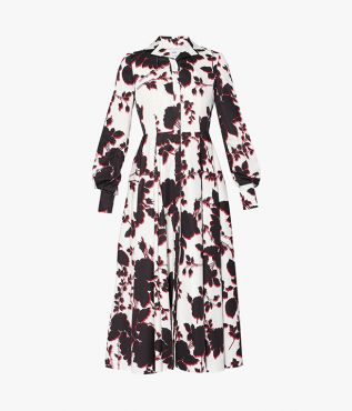 Transition between seasons in the mid-length Helaine Dress from Erdem.