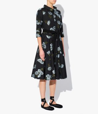 Margot Dress cut from black cotton and decorated with contrasting blue fil coupe flowers for a textural finish.
