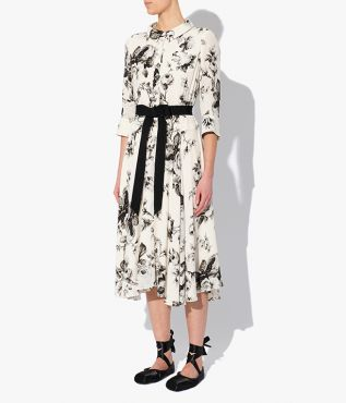 The Margot Dress with a 1950s-inspired silhouette from Erdem in ivory floral print for AW21.