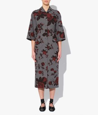 Erdem midi-length Dalia Dress, made from grey cotton melange stamped with contrasting red roses of varying scales.