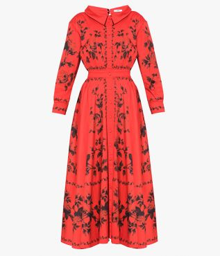 The long-sleeved Darcie Dress is cut from red cotton poplin and decorated with the Fonteyn Rose print.