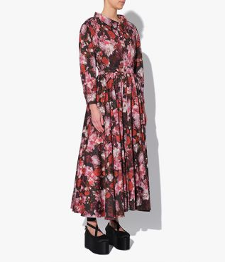 Erdem Darcie Dress in the exclusive red and pink Giselle Blossom print which is cut from crisp cotton poplin.