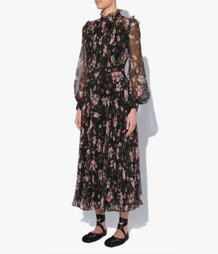 The Narella Dress in black is stamped with the Margot Posy print, a small scale painterly floral showcasing blush pink blooms.