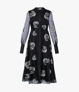 The Emily Dress from Erdem in black organza is embroidered with sequin-embellished feathers to create the effect of plumage.