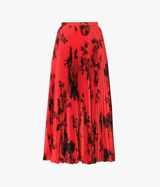 Red and black floral printed version of the Nesrine Skirt cut from lightweight twill.