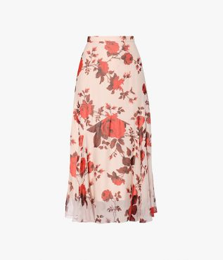 Shea Skirt cut from pale pink silk voile, printed with bold red roses.