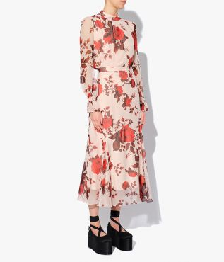 AW21 Shea Skirt in pink with with bold red roses inspired by the beauty of ballerina Margot Fonteyn.