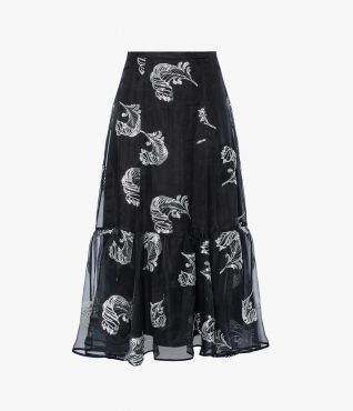 Erdem's AW21 collection features the darkly romantic Claudena Skirt in black organza.