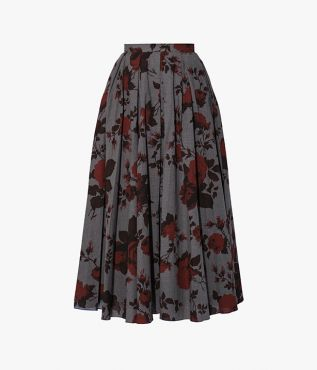 Offering a darker take on florals, the midi length Sadie Skirt is cut from grey cotton melange.