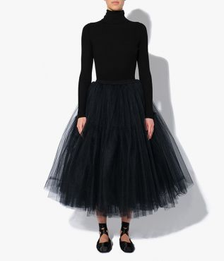 AW21 ballet inspired Rachel Skirt with a midi length and crafted from layers of black tulle.