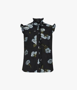 The Cyrus Top is cut from cotton fil coupe and features slightly raised flowers for added texture.
