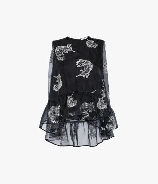 Cut from black silk-blend organza, the Rutha Top is a sleeveless style from Erdem.