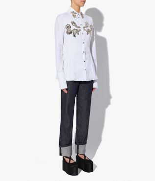 Bella Blouse Crystal Embroidered Cotton Poplin