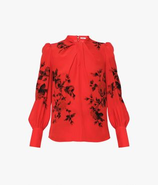 Introduce bold colour to your new season wardrobe with the Fayola Top in red silk crepe de chine.