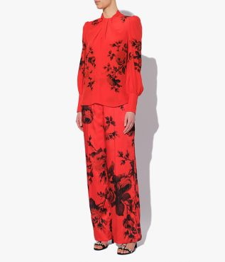 Erdem Fayola Top shaped with a flattering, twisted neckline and long blouson sleeves.