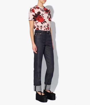 Cut from indigo denim, this high-rise, straight leg pair of jeans from Erdem features turn-up cuffs.