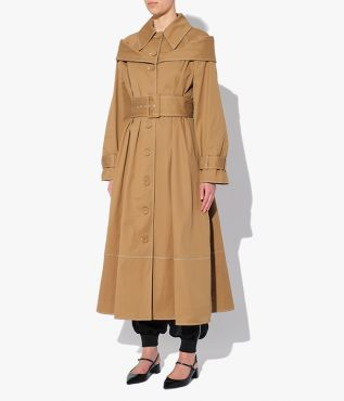 Lotte Coat cut from camel cotton drill and shaped for a flattering A-line silhouette.