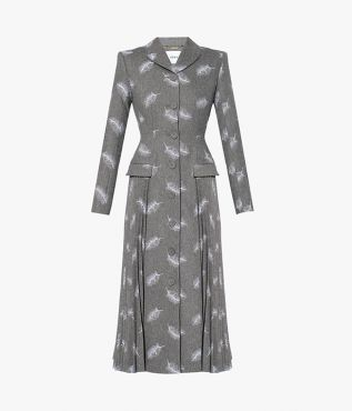Calla Coat cut from a heavyweight grey wool-blend fabric and embroidered all over with delicate white feathers.