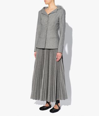 Joy Jacket in grey wool blend fabric with an open collar, nipped waist and slightly flared hem.