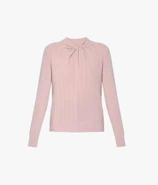 Erdem blush pink toned Rae Jumper with cleverly twisted neckline for AW21.