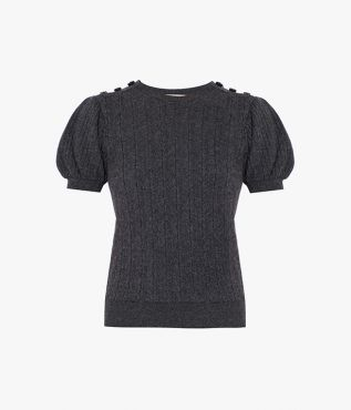 Putting a ladylike spin on a classic grey jumper, the Belva is shaped with puffed sleeves and a fitted body.