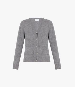 Erdem's version of a versatile grey cardigan made from merino wool with a touch of cashmere