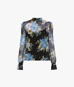 Erdem Barnaby Top Carnation Bouquet Silk Voile