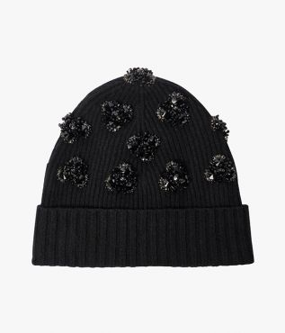 Floral Beaded Beanie Hat